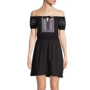 NWT Black Embroidered Bardot Dress